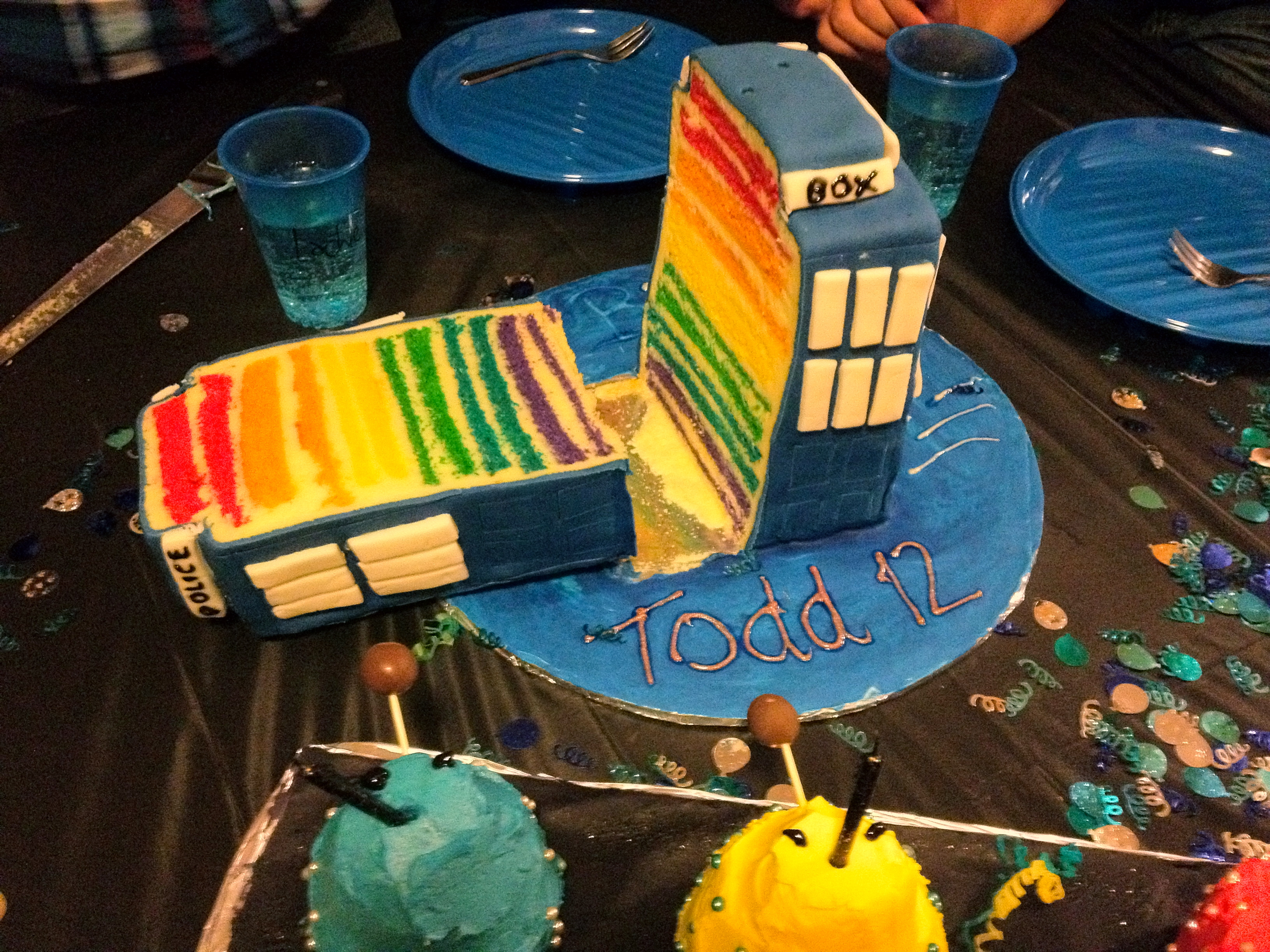 Excellent Tardis Rainbow Birthday Cake And Dalek Cupcakes Kitchen Therapy Funny Birthday Cards Online Alyptdamsfinfo